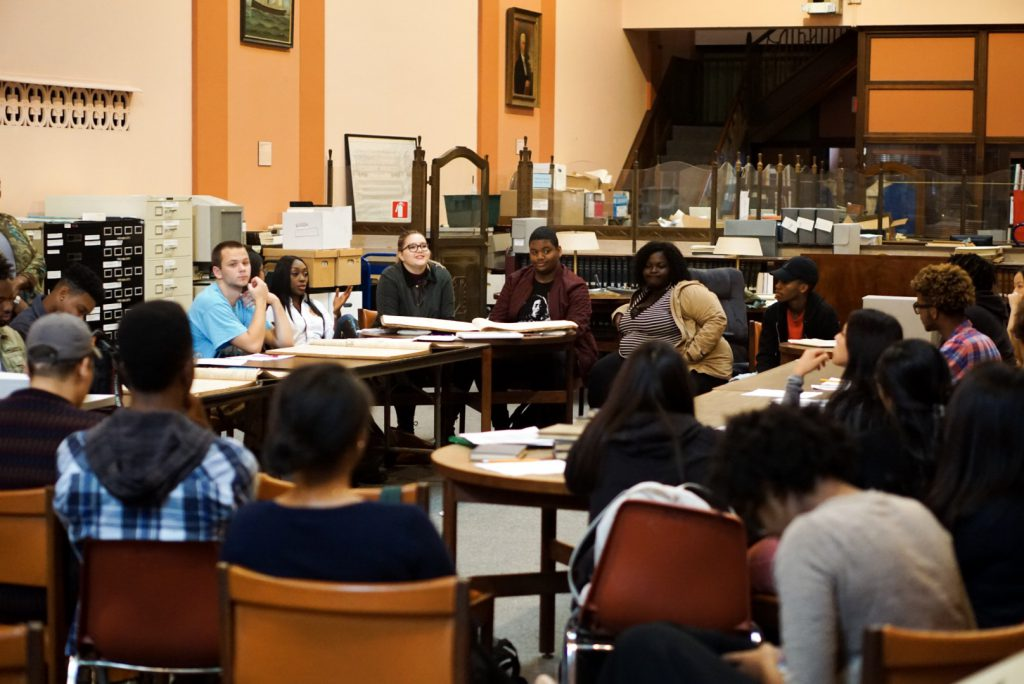 Graduate students doing research, Delaware Historical Society