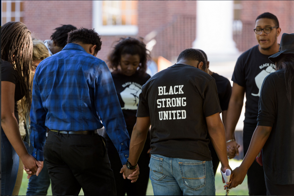Students gather on the Green during a Black Lives Matter rally