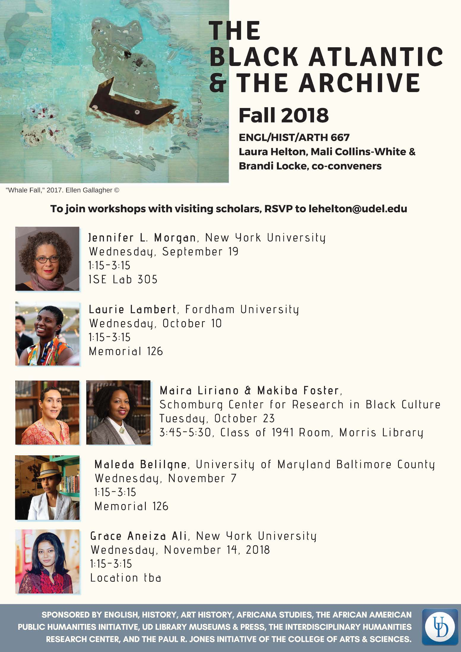 poster for the Fall 2018 Black Atlantic and the Archive Speaker Series at the University of Delaware