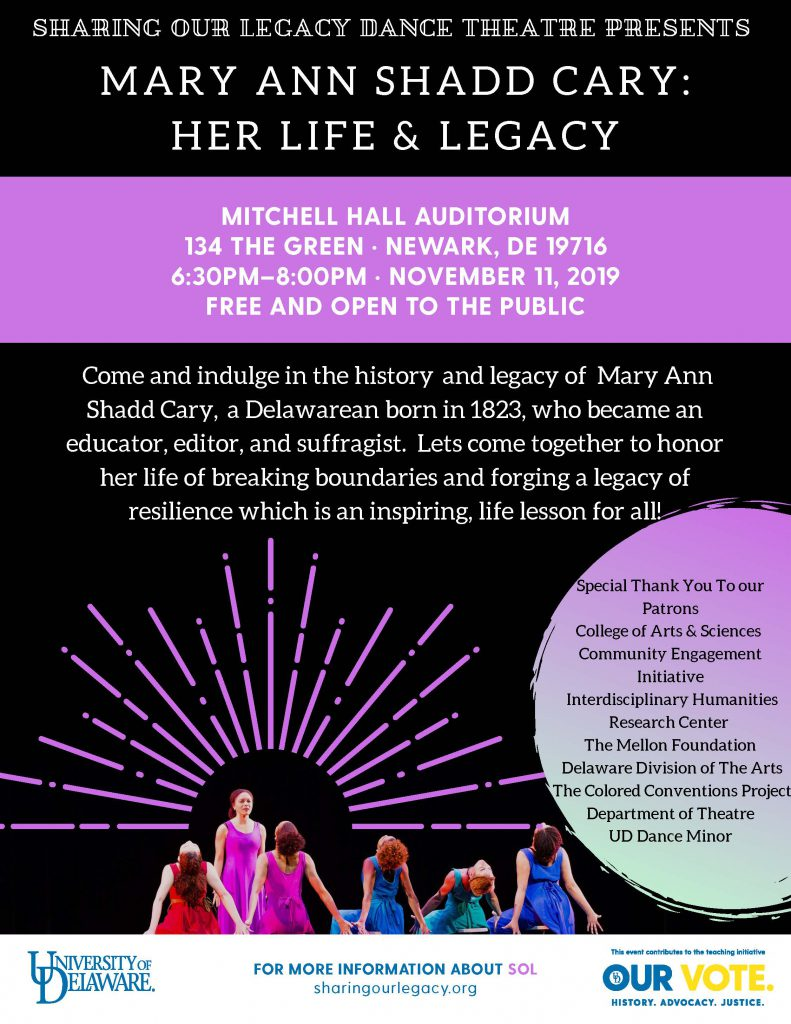 Mary Ann Shadd Cary, her life and legacy. Free event at the University of Delaware on November 11, 2019