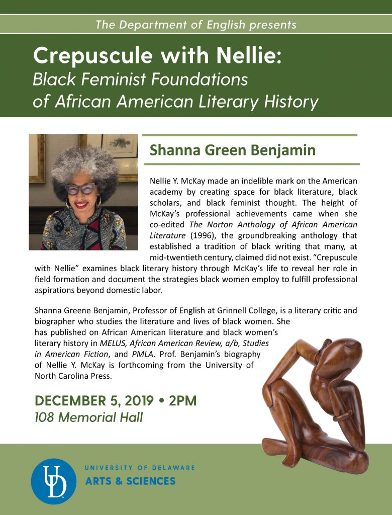 Shanna Benjamin to speak at the University of Delaware on December 5, 2019.